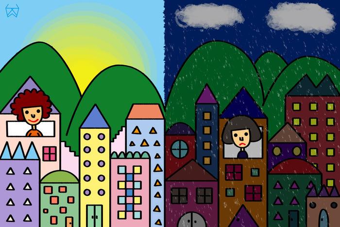 一年级画画城市