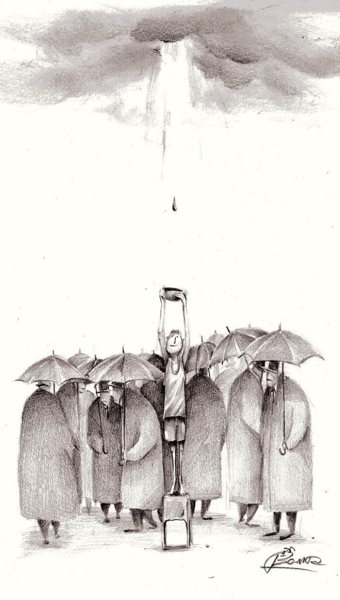春天下雨素描画